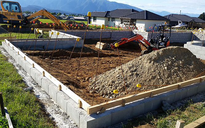 House foundations being laid